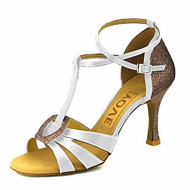 d79496b8fb86b Femme Satin Chaussures Latines / Chaussures de Salsa Boucle / Ruban Sandale  / Talon Talon Personnalisé Personnalisables Bronze / Amande / Chair ...