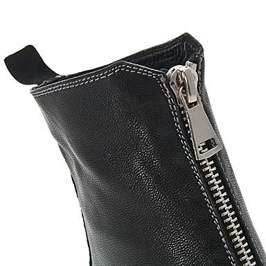 rond boîtes Chaussures Printemps Cuir Plat de Bottes Mode Combat Automne Noir 06661508 Bout Bottes Femme la Talon à n8xBZn