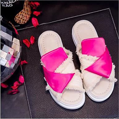 Chaussures 06681836 Confort de Noir amp; Chaussons Croûte Femme Tongs Cuir Blanc Creepers Printemps Bout rond été qwAZEdYx