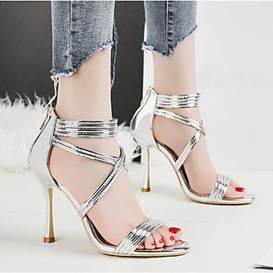 Polyuréthane Bout Chaussures Boucle Evénement Talon Noir ouvert Rose Eté Sandales Femme Aiguille Basique 06673440 Argent Escarpin Soirée amp; CR8dRwx