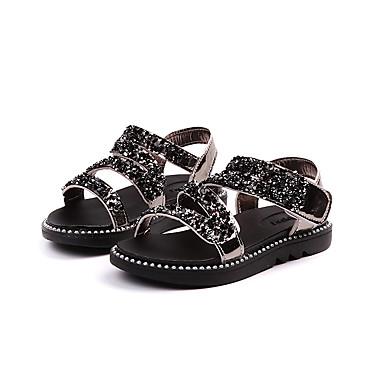 Dla dziewczynek Obuwie TPU Lato Comfort Sandały Tasiemka na Dzieci Black / Silver / Różowy