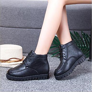 Zapatos 06686937 Botas Plano invierno Otoño redondo Confort PU Negro Gris Dedo Mujer Tacón A71xFF