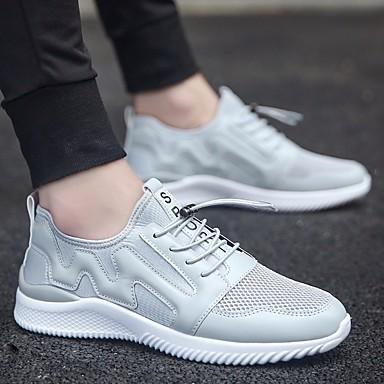 Męskie Komfortowe buty Tiul Lato Adidasy Biały / Czarny / Szary / Na zewnątrz