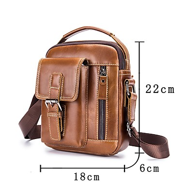 72fed1300782 Men s Bags Leather Shoulder Bag Zipper Coffee   Brown