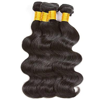 4 zestawy Włosy malezyjskie Falowana Włosy naturalne Doczepy z naturalnych włosów Kolor naturalny Ludzkie włosy wyplata Miękka / Klasyczny / Gorąca wyprzedaż Ludzkich włosów rozszerzeniach Damskie