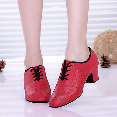 Women's Modern Shoes Synthetic Microfiber PU Oxford / Heel Chunky / Heel Dance Shoes Black / Chunky Red / Performance / Practice cf127b