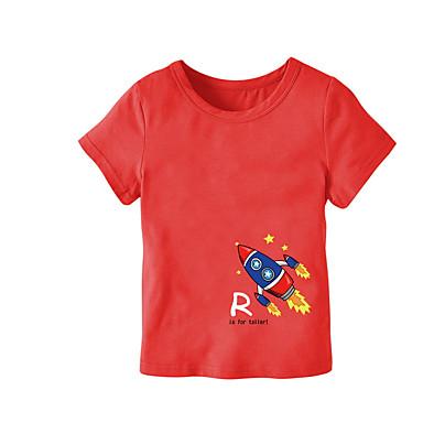 Copii Băieți Activ Imprimeu Manșon scurt Poliester Tricou Roșu-aprins 100