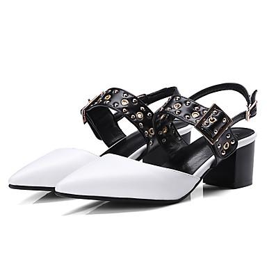 Mulheres Sapatos Poliuretano Verão Conforto Tamancos e Mules Salto Robusto Branco / Preto