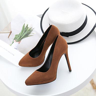 Chaussures à Basique Escarpin 06713955 Rouge pointu Marron Bout Talons Femme Talon Chaussures Tissu Automne Aiguille Amande AwIR4q