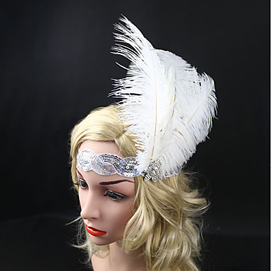 Gatsby Vintage Lata 20. Kostium Damskie Opaska w stylu lat 20-tych Czapki Biały Postarzane Cosplay Pióro Bez rękawów