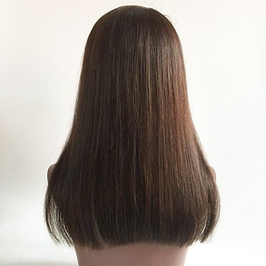 cheap Human Hair Wigs-Virgin Human Hair Full Lace Wig Bob With Bangs style Brazilian Hair Straight Brown Wig 130% Density with Baby Hair Brown Women's Short Medium Length Long Human Hair Lace Wig Aili Young Hair