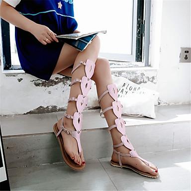 Femme Chaussures Bout été Plat Printemps Noir Evénement ouvert Sandales 06684105 Similicuir amp; Blanc Soirée Confort Talon Rose ATUBwAFq