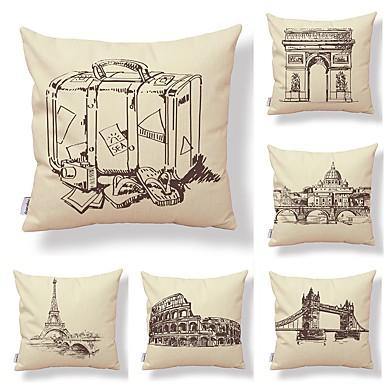 6 buc Textil / Bumbac / In Față de Pernă, Art Deco / Arhitectură / Imprimare Artistic / Formă pătrată