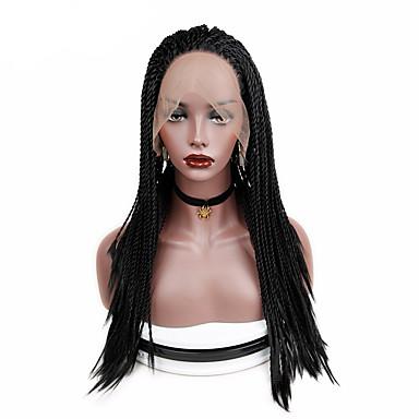 Lănțișoare frontale din sintetice Pentru femei Drept Negru Partea centrală Păr Sintetic O noua sosire / cald Vânzare / Peruca Faux Locs Negru Perucă Lung / Lungime medie Față din Dantelă Negru