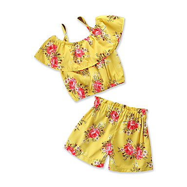 Dzieci / Brzdąc Dla dziewczynek Aktywny / Podstawowy Codzienny / Święto Nadruk Nadruk Krótki rękaw Regularny Poliester Komplet odzieży Żółty 100