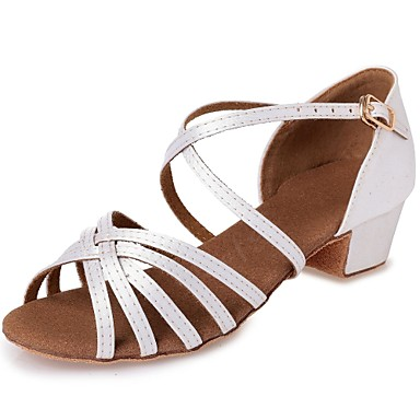 Girls' Latin Shoes Silk Heel Heel Ribbon Tie Chunky Heel Silk Customizable Dance Shoes White / Leather / Professional ec557b
