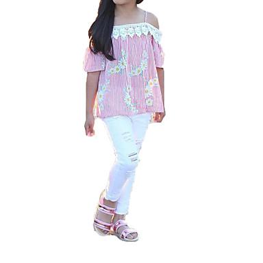 Copil Fete Floral Manșon scurt Set Îmbrăcăminte