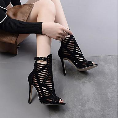 Basique 06684326 Chaussures Escarpin Flocage Aiguille Noir Eté Talon Femme Sandales wIBOq771