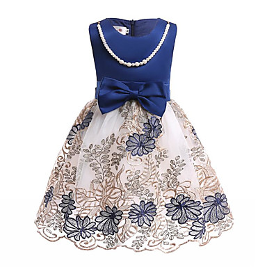 お買い得  女児 ドレス-子供 女の子 活発的 日常 お出かけ ブルー & ホワイト プリント リボン メッシュ 刺繍 ノースリーブ 膝丈 膝上 コットン ポリエステル ドレス ブルー / キュート / 洋ナシ型