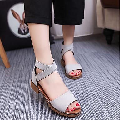 Pentru femei Pantofi Piele nubuc Vară Confortabili Sandale Toc Jos Negru / Gri / Albastru