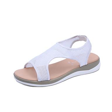 Pentru femei Tul Vară Confortabili Sandale Plimbare Toc Drept Vârf deschis Rosu / Albastru / Roz