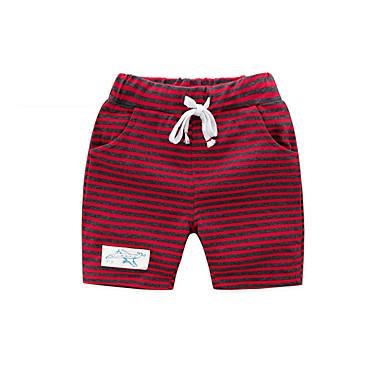 baratos Calças para Meninos-Infantil Para Meninos Activo Básico Diário Listrado Cordões Algodão Shorts Branco
