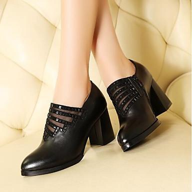 Pentru femei Nappa Leather Primavara vara Noutăți Tocuri Toc Îndesat Vârf rotund Negru / Rosu