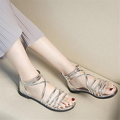 Confort Synthétique Talon Sandales Eté Femme 06693722 Plat Gladiateur Noir Or Argent Chaussures qSa5xwt
