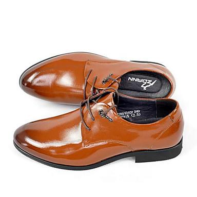 Męskie Buty Nappa Leather / Skórzany Jesień Comfort Oksfordki Black / Light Brown