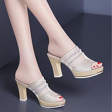 Pentru femei Pantofi PU Vară Confortabili Tocuri Toc Îndesat Auriu / Roz