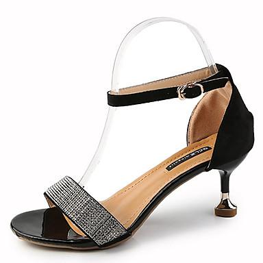 Pentru femei Pantofi PU Primăvară / Vară Pantofi pe Gleznă Sandale Toc Mic Negru / Bej / Party & Seară