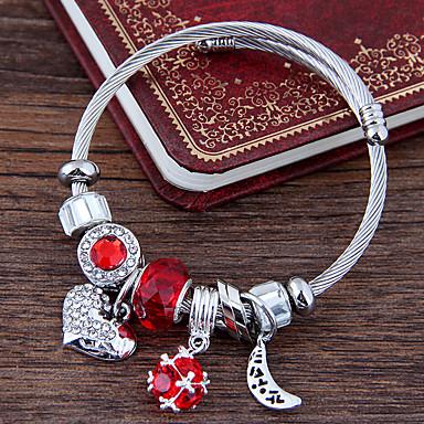abordables Bracelet-Breloque Charms Bracelet Bracelet Cape Cod Femme Multirang Strass Lune Cœur Européen Mode Bracelet Bijoux Rouge Bleu Rose Forme de Cercle pour Quotidien