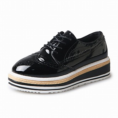 Pentru femei Pantofi Imitație Piele Primavara vara Confortabili Oxfords Creepers Auriu / Negru / Argintiu