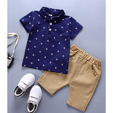 billige Babytøj Drenge Drenge-Baby Drenge Basale Daglig Trykt mønster Kortærmet Normal Bomuld Tøjsæt Blå