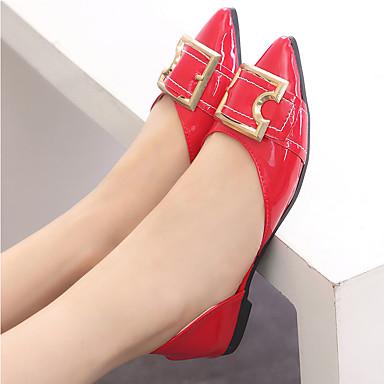 Puntiagudo Mujer Dedo Negro Zapatos Plano Bailarinas 06769622 Tacón Rojo Confort PU Verano nqxUFSw68q