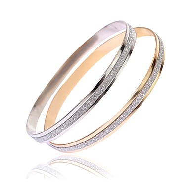 cheap Bangles Bracelets-2pcs Women's Bracelet Bangles Friendship stardust Ladies Simple Fashion Italian everyday Steel Stainless Bracelet Jewelry Silver / Rose Gold For Daily Birthday