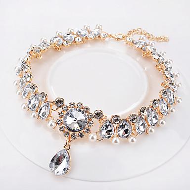 levne Dámské šperky-Dámské Obojkové náhrdelníky Hruška Silný řetězec Kapka dámy Módní Pro nevěstu Na každý den Napodobenina perel Štras Lucite Zlatá 35 cm Náhrdelníky Šperky 1ks Pro Svatební Denní Plesová maškaráda