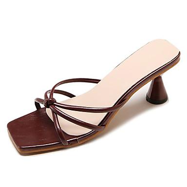 Carrete Sandalias Zapatos 06735238 Blanco Tacón Mujer Descubierto Talón PU Negro Verano Borgoña R0dqwT1