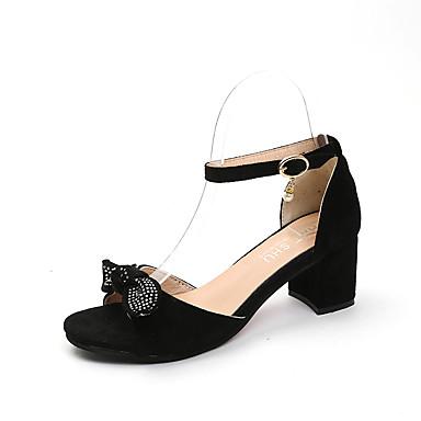 Pentru femei Pantofi PU Vară Confortabili Sandale Toc Îndesat Vârf ascuțit Funde Negru / Galben / Camel / Dungi