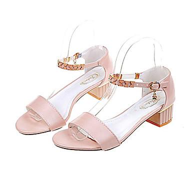 Zapatos 06766094 Blanco Bajo Mujer Verano Dedo Sandalias PU Confort Rosa Tacón redondo Rn7Fw