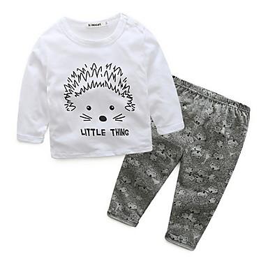 Bebelus Fete De Bază Imprimeu Manșon Lung Scurt Set Îmbrăcăminte / Copil