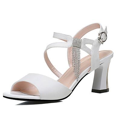 fa2e856387e Women s Faux Leather Spring   Summer Gladiator   Basic Pump Sandals Chunky  Heel White   Black