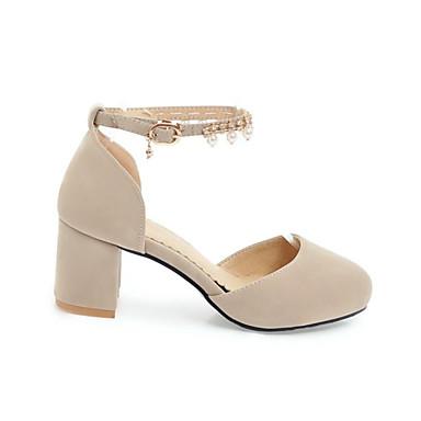 Ante 06769718 Pump Zapatos Básico Negro Perla Tacón Cuadrado Primavera Beige Tacones Imitación Hebilla Mujer de 6t5q1wHw