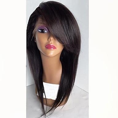 Păr Remy Față din Dantelă Perucă Păr Brazilian Drept Negru Perucă Frizură în Straturi Cu breton 130% Densitatea părului cu păr de păr Linia naturală de păr Negru Pentru femei Scurt Peruci Păr Uman