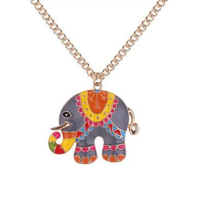 Pentru femei Lung Coliere cu Pandativ - Elefant Vintage, Desen animat, Modă Încântător Auriu, Argintiu 62+5 cm Coliere Bijuterii 1 buc Pentru Zilnic, Școală