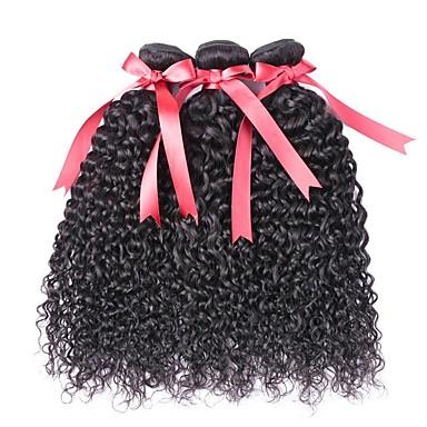3 pachete Păr Brazilian Buclat 8A Păr Natural Umane tesaturi de par Extensii din Păr Natural 8-28 inch Culoare naturală Umane Țesăturile de par Fără calotă Cea mai buna calitate cald Vânzare pentru