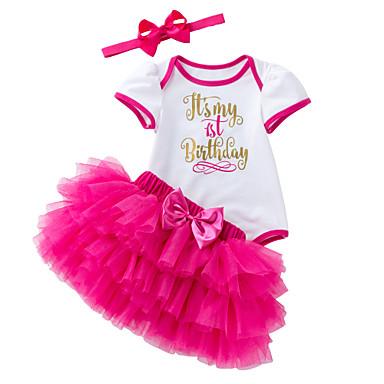 Bebelus Fete Imprimeu Manșon scurt Set Îmbrăcăminte