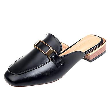 Pentru femei Pantofi PU Vară Pantof cu Berete Saboți Toc Îndesat Vârf pătrat Negru / Migdală