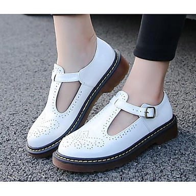 Pentru femei Pantofi PU Toamnă Confortabili Mocasini & Balerini Toc Îndesat Alb / Negru / Rosu
