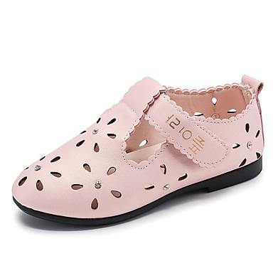 Fete Pantofi PU Vară Confortabili Pantofi Flați Plimbare Cristal pentru Copii Alb / Roz